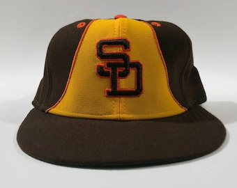f4bac27ff san diego padres; san diego padres authentic mlb new era fitted leather  sweatband baseball hat size 7 3 8