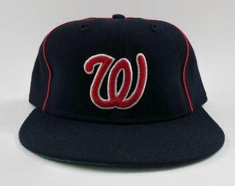 63179b91a74 Washington Senators Authentic MLB New Era Fitted Leather Sweatband Baseball Hat  Size 7 1 2 Circa 1963-1967