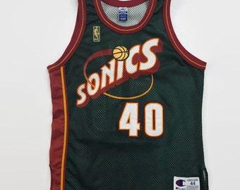 5549a255f554 Shawn Kemp Seattle Supersonics Authentic NBA 50th Anniversary Champion  Basketball Jersey Size 44 Large Circa 1996-1997