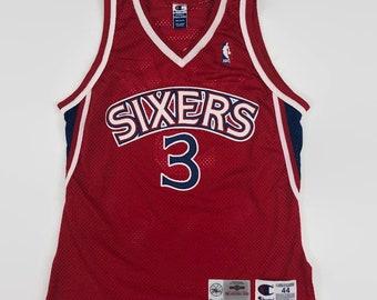 685465532ba ... spain allen iverson philadelphia 76ers authentic nba champion  basketball jersey size 44 large circa 1990s 8a65e