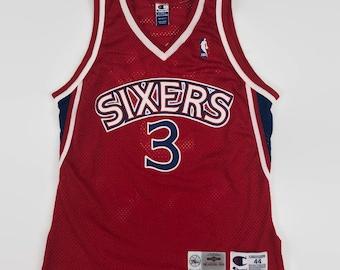 6f1795130c2 Allen Iverson Philadelphia 76ers Authentic NBA Champion Basketball Jersey  Size 44 Large Circa 1990s
