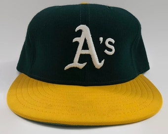 83f16e597c7 Oakland Athletics A s Authentic MLB New Era Fitted Leather Sweatband Hat  Size 7 3 8 Circa 1980s