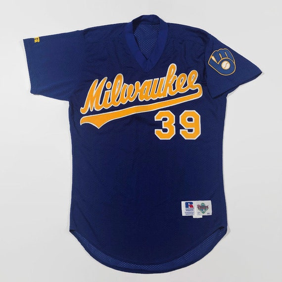 uk availability f8133 dfc18 Milwaukee Brewers Authentic MLB Russell Athletic Batting Practice Baseball  Jersey Size 44 Large Circa 1980s