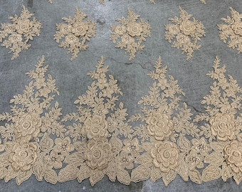Navy Blue Mesh Lace Fabric LeafsBush Design With Scattered BeadsPearls Fabric Lace Fabric by The Yard And Embroider For Bridal