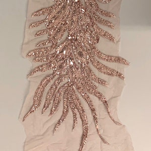 Gracie DUSTY ROSE Vegas Peacock Beaded Sequins Embroidered on Mesh Lace Fabric by Panel 10012