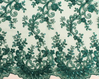 Shop Mesh Lace Fabric By The Yard Hunter Green Corded Floral Embroidery With Sequins on Mesh Polyester For Bridal