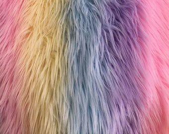 Leia RAINBOW 2 Inch Long Pile Soft Faux Fur Fabric by the Yard - 10125 60df9af32d777