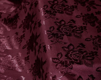Kayla BURGUNDY Polyester Floral Jacquard Brocade Satin Fabric by the Yard - 10004
