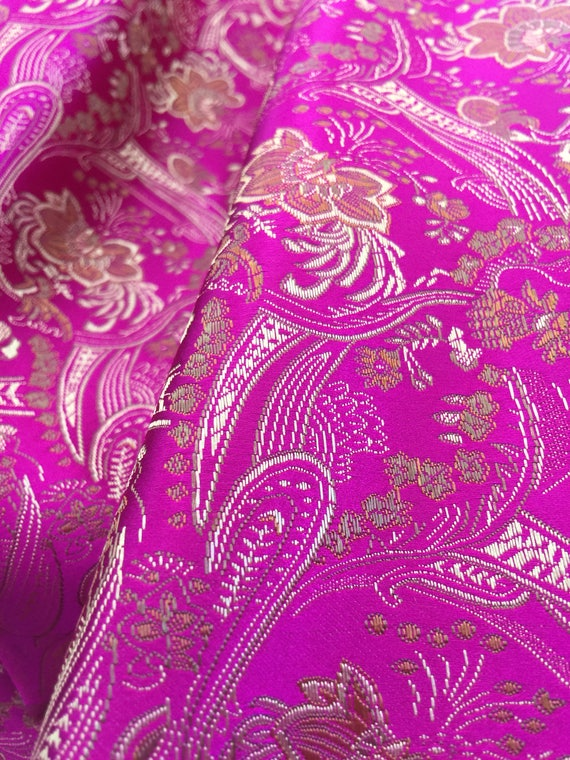 izabella fuchsia floral brocade chinese satin fabric by the etsy