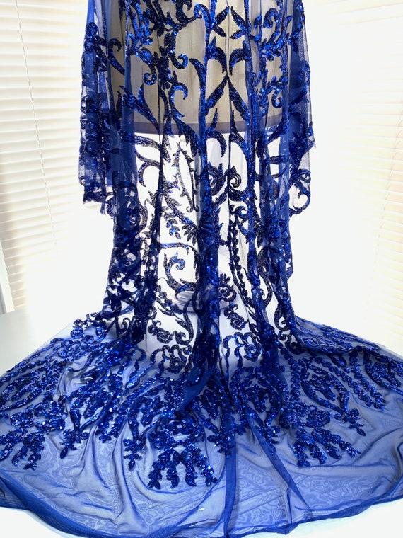10068 Arielle ROYAL BLUE Leaf Paisley Foil and Sequins on Mesh Lace Fabric by the Yard