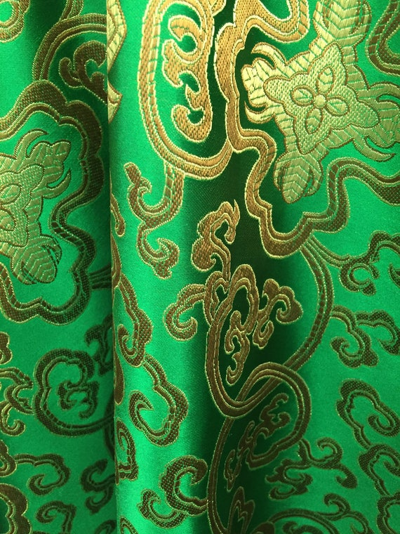 Style 3000 Isabella DARK GOLD Floral Jacquard Brocade Satin Fabric by the Yard