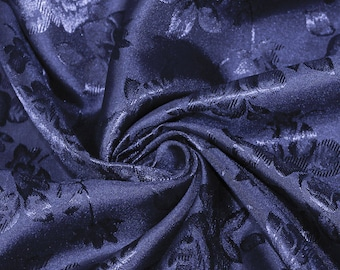 Kayla NAVY BLUE Polyester Floral Jacquard Brocade Satin Fabric by the Yard - 10004