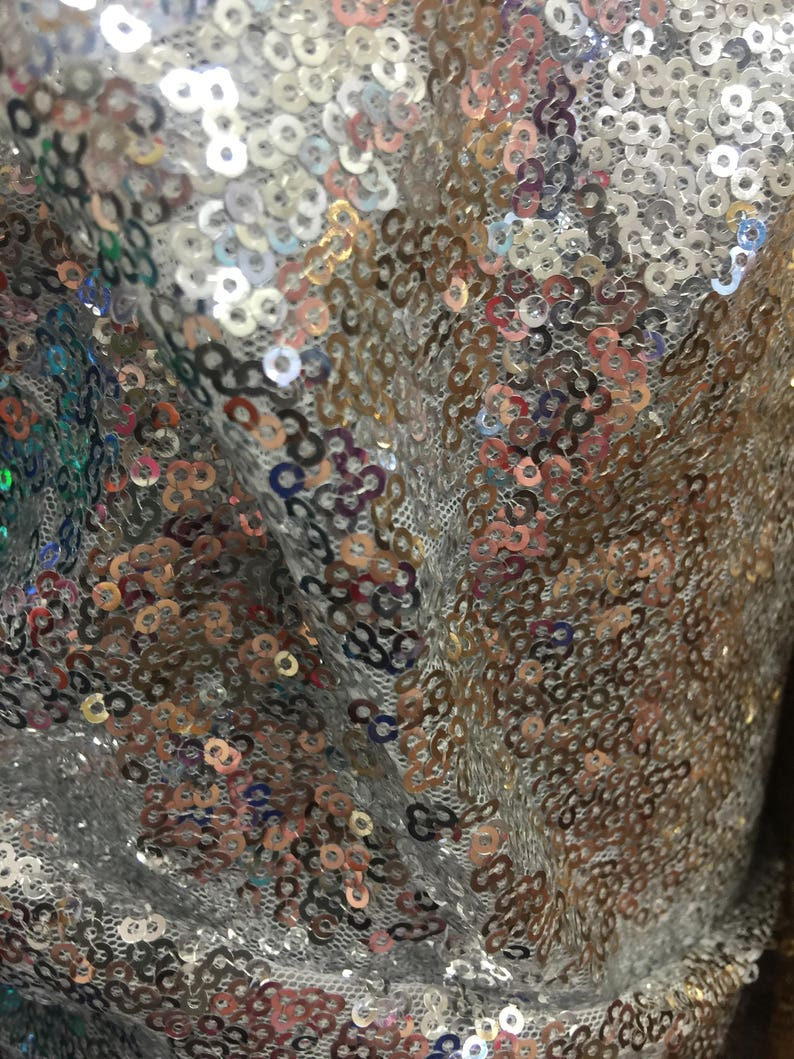 Leila SILVER Sequins on Mesh Fabric by the Yard 10050