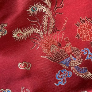 TURQUOISE Oriental Dragon Chinese Brocade Satin Embroidered Dress Fabric A1117