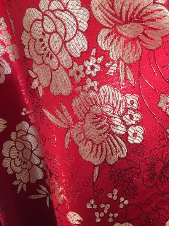 juliet red floral brocade chinese satin fabric by the yard etsy