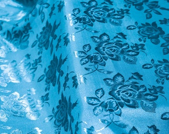 Kayla TURQUOISE Polyester Floral Jacquard Brocade Satin Fabric by the Yard - 10004