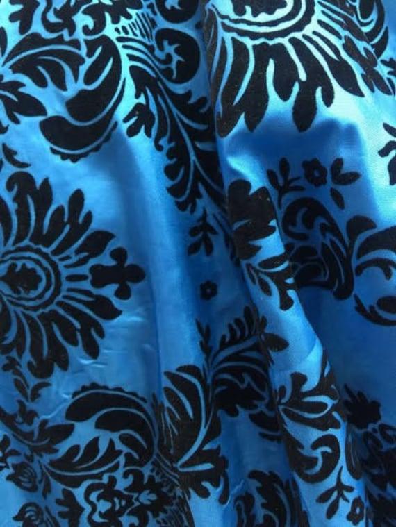 """5 Yards Turquoise Black Flocking Damask Taffeta Velvet Fabric 58/"""" Flocked Decor"""