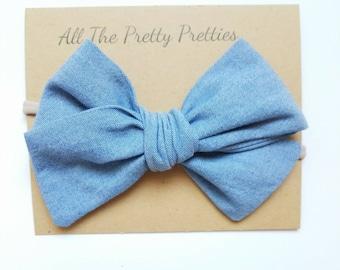 Chambray cotton bow