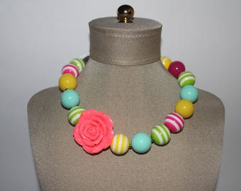 Rose Flower Girls Necklace Chunky Beads