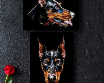 Doberman Photographic Print with Stunning Fractal Art Design. Various Sizes Available