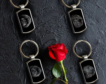 Black Shih Tzu Keychain with Fractal Art Design.
