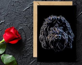 Black Cockapoo Blank Birthday Greeting Card with Stunning Fractal Art Design #1-1