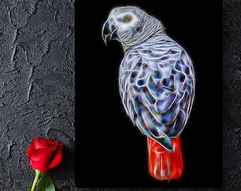 African Grey Parrot Metal Wall Plaque Fractal Art Design #1
