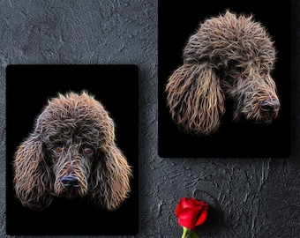 Chocolate Brown Standard Poodle Metal Wall Plaque with Stunning Fractal Art Design.