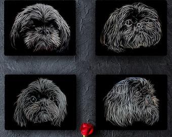 Black Shih Tzu Metal Wall Plaque with Stunning Fractal Art Design