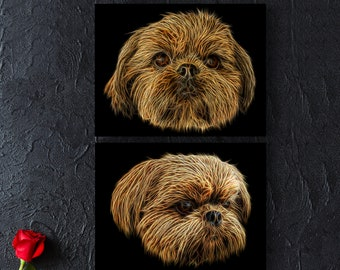Red Shih Tzu Print with Stunning Fractal Art Design. Various Sizes Available