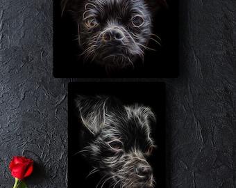 Black Chug Dog Metal Wall Plaque with Fractal Art Design.