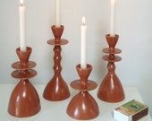 Altuzarra x Etsy Exclusive, Set of 4 limited edition cognac glazed candlesticks. Ready to ship! Handbuilt stoneware.