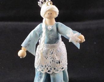 Snow Queen Clothespin doll
