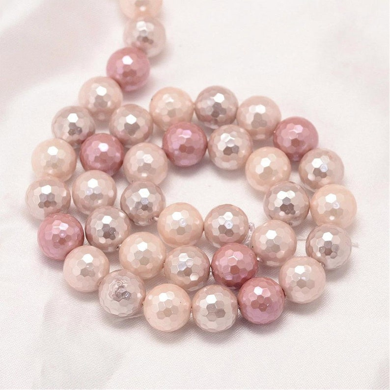 Mixed Color 8 mm Faceted Round Shell Pearl Bead Strands