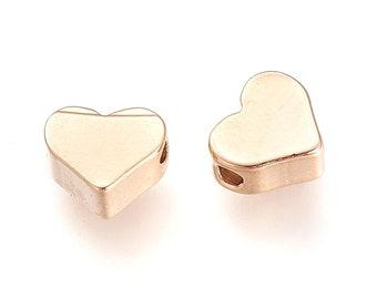 20 pcs- Gold Plated, Gold Heart Spacer Beads, Brass Spacer Beads, Gold Hearts, Small Heart Spacers, Heart Beads, Heart Bead