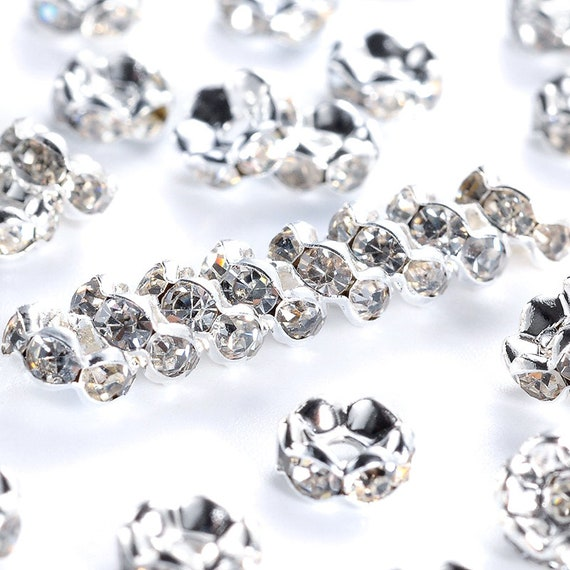 20Pcs Wholesale Crystal Rhinestone Rondelle Spacer Beads For Jewelry Making