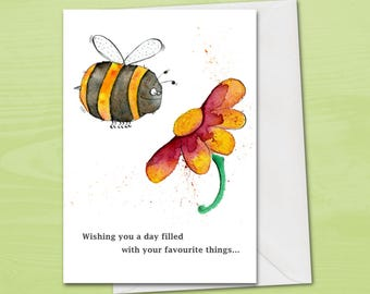 Bee Birthday Card For Lover Gardener Gardening Cute Flower