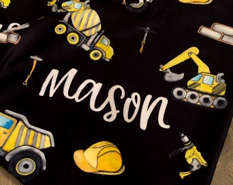 digger blanket // personalized baby blanket // baby boy blanket // baby announcement