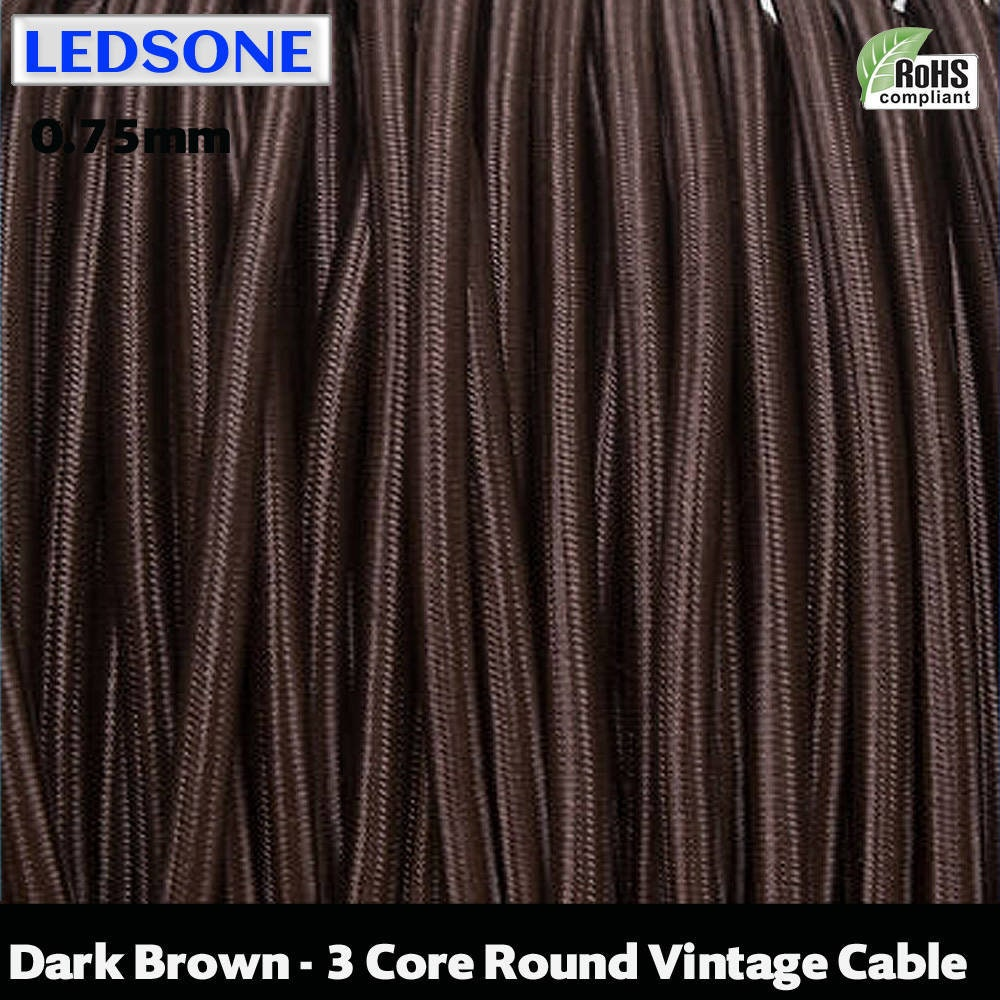 10m 3 Core Vintage Braided Cable,HUIBONA Cloth Covered Twisted Flex for Old Lamp