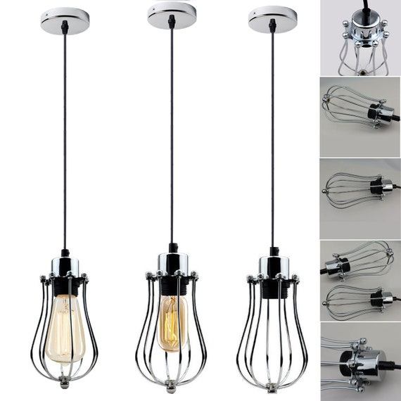 Modern Industrial Iron Metal Wire Frame Shades Light Steampunk Buld Cage Pendant