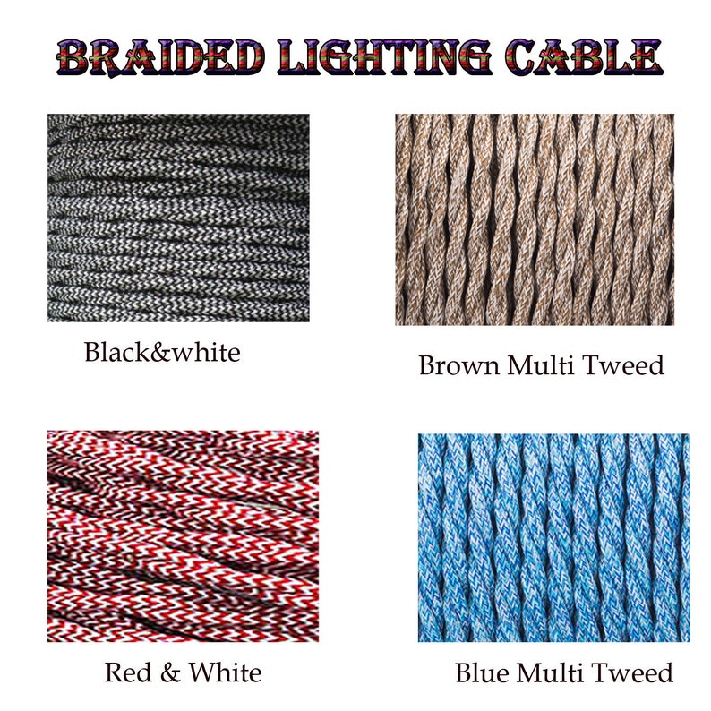 Vintage Black Round Braided Fabric Flexible Electrical Cable 3Core UK Lighting