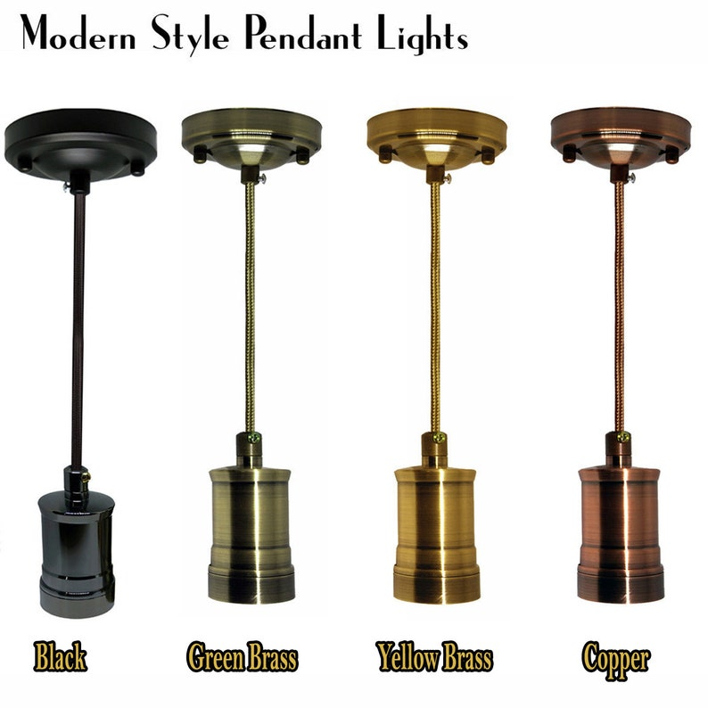 E27 Vintage Lamp bulb holder Various Finishes with Optional Shade Ring Free P/&P