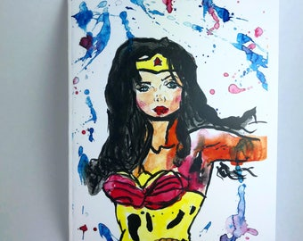 Wonder Woman Watercolor Greeting Card