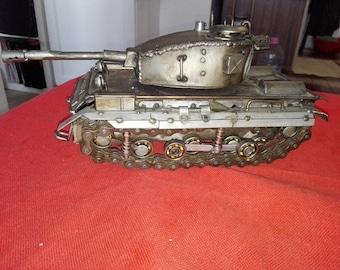 Handmade tank figure from scrap metal