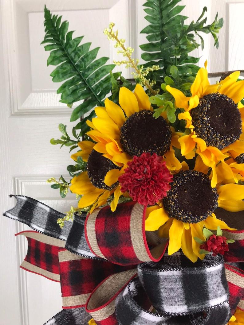 Buffalo Plaid Sunflower Wreath Sunflower Decor Summer Wreath Fall Front Door Decor Sunflower Tobacco Basket Farmhouse Sunflower Decor
