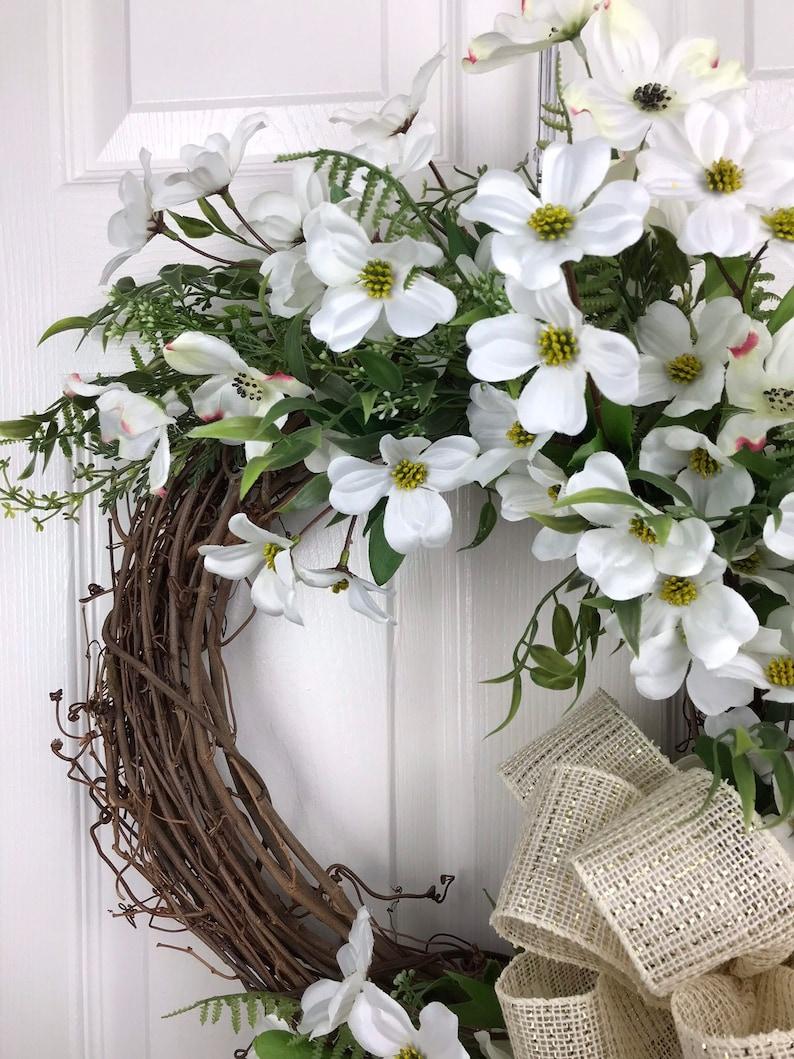 Summer Front Door Wreath Spring front door decor Dogwood Wreath Easter wreath Spring decor Farmhouse Wreath Summer wreath Dogwood Dec