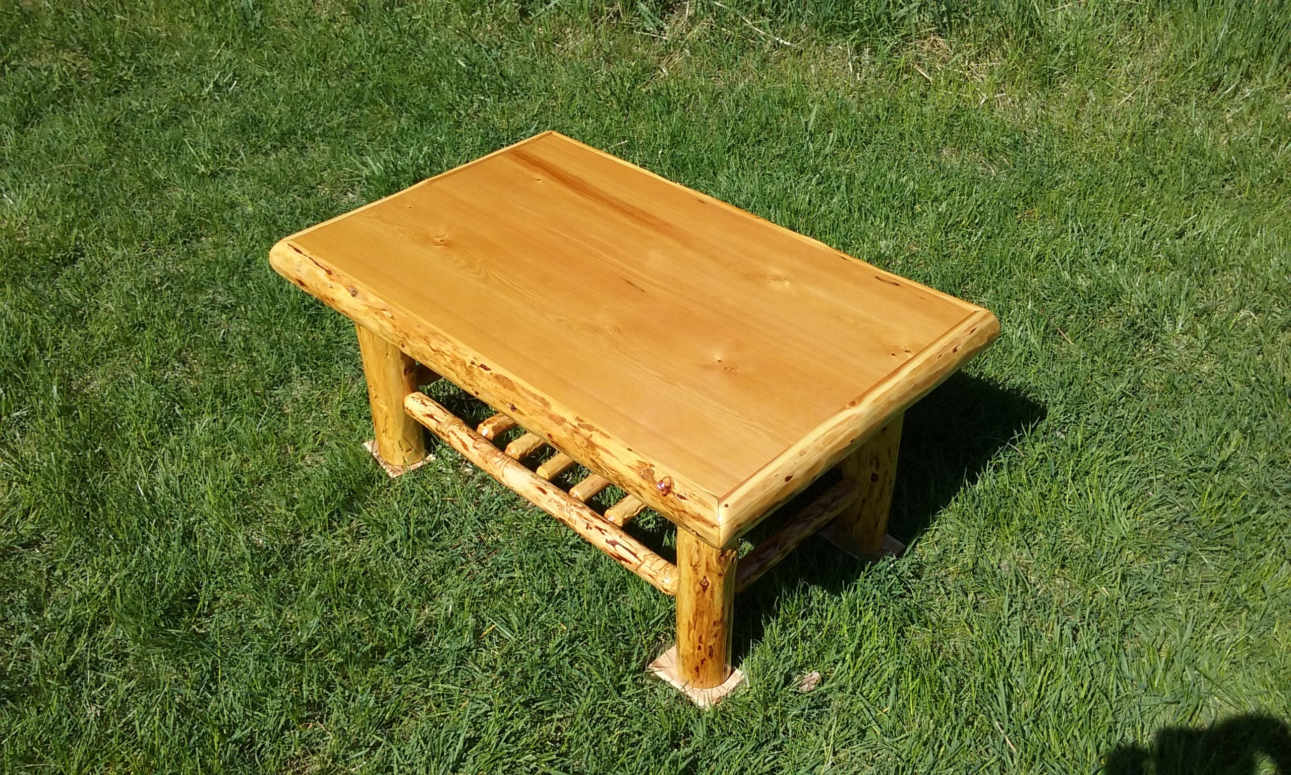 - Rustic Log Coffee Table With Shelf Etsy