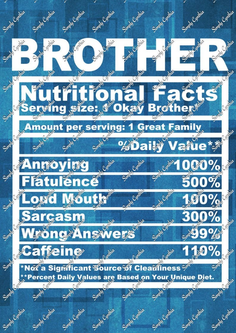 Brother Nutritional Facts Svg Etsy