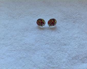 Earrings, stud earrings, nickel-free earrings, flower earrings, tree earrings, flowering tree earrings, handmade earrings, bright earrings