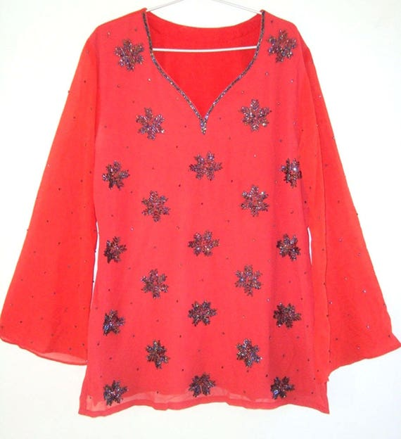 Ladies Red Georgette Tunic Full Sequence And Beads Work Kurtis Etsy